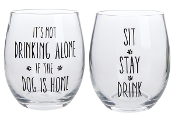 Four Legged Dog Friends Stemless Wine Glasses, Set of Two