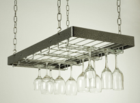 Black Rectangle Hanging Wine Glass Rack with Chrome grid and chain