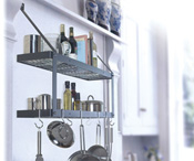 Black Double Bookshelf with chrome hooks and screws displayed with props.