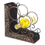 Antique Embossed Three Bottle Wine Rack Bookend