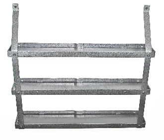 Three-Tier Spice Rack - Hammered Steel and Black Wood