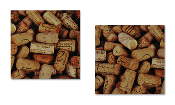 Giftcraft Canvas Wine Cellar Corks WALL ART Decor set of 2