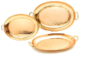Set of 3 Décor Copper Oval Trays
