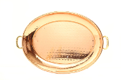 Oval Décor Copper Tray with Cast Brass Handle