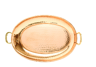 "17"" x 13"" Oval Décor Copper Tray with Cast Brass Handle"