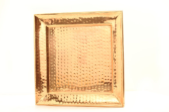 "11"" Square Décor Copper Hammered Tray"