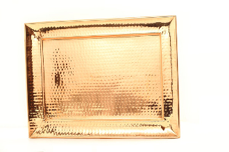 "13½"" x 18"" Rectangular Décor Copper Hammered Tray"