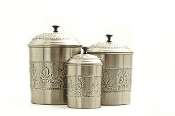 "Antique Embossed ""victoria"" Canisters, 5½qt., 4qt., 3qt"
