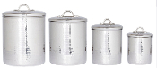 Stainless Steel Hammered 4-Piece Canister Set