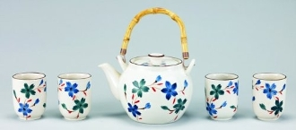 Cream Flower 5 Pc Porcelain Tea Set