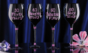 Glitter Birthday Wine Glasses