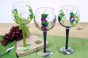 Set of Three Vintage Grape Wine Glasses