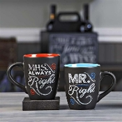 Chalk Talk Mugs, Mr. & Mrs., Set of Two