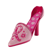 Evergreen Pink Ribbon Floral High Heel Wine Bottle Holder