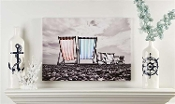 Deck Chairs on the Beach Stretch Canvas wall Print