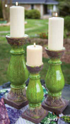 The Vintner's Cottage Ceramic Candle Holder, Green, Set of 3