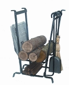 Complete Fire Center Log Rack with Tools