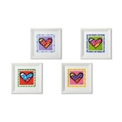 Romero Britto Framed Hearts Posters, 4 Asst.