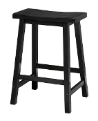 "Saddle Seat 24"" Black Stool, Single, RTA"