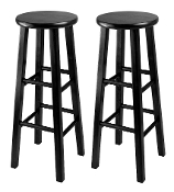 "Set of 2, Bar Stool, 29"" Square Leg Stools"