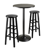 "3pc Round Black Pub Table with two 29"" Wood Stool Square Legs"