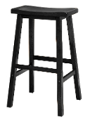 "Saddle Seat 29"" Black Stool, Single, RTA"