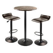 Cora 3pc Round Pub Table with 2 Swivel Stools