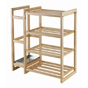 Isabel Shoe Rack with Umbrella Stand and Tray Natural Finish