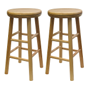 "Set of 2, Swivel 24"" Stool, Assembled"
