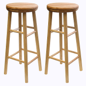 "Sets of 2, Swivel 30"" Stool, Assembled"