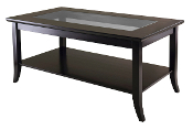 Genoa Rectangular Coffee Table with Glass top and Shelf