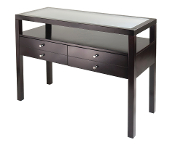 Copenhagen Console Table with Glass Top and two Drawers