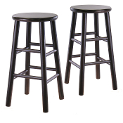 "Set of 2, 24"" Bevel seat stool, Assembled"
