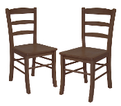 Set of 2 Ladder Back Chair, RTA, Antique Walnut