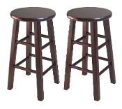 "Set of 2 Square Leg, 24"" Counter Stool"