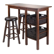 "Egan 5pc Table with 2 - 24"" Round Cushion Stools and 2 Baskets"