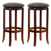 "Set of 2 Faux Leather Swivel 30"" Stool, Assembled"