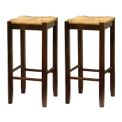 "Set of 2, Rush Seat 29"" Stool, Assembled"