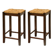 "Set of 2, Rush Seat 24"" Stool, Assembled"
