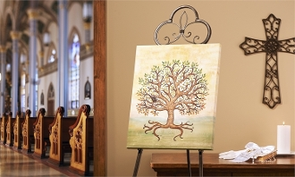 Signing Tree Canvas Print, Gold Bless You