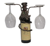 Grapevine Style 2 Stem Holder Wine Bottle Topper Finish: Meteor