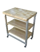 Oasis Stainless Steel/Wood The Deluxe Flip & Fold Island