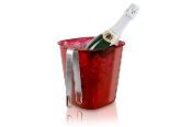 Metrokane Rabbit Ice Bucket with Stainless Steel Tongs, Red