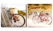 Bicycle in Country Setting, Stretched Canvas Print, Set of Two