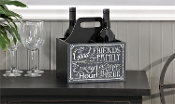 With good Friends and Family Chalkboard Wine Caddy