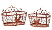Gift Craft Red Rooster Metal Basket Set