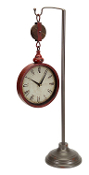 "Melrose 28"" Rustic Distressed Red Pulley Clock on Stand"
