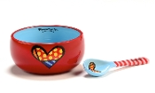 Romero Britto Bowl and Spoon Set (Heart)