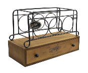 New View Metal Wine Rack with Wooden Drawer, Holds 3 Bottles