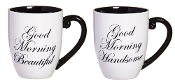 Elegant Black Ink Coffee Cups, Good Morning, Set of Two